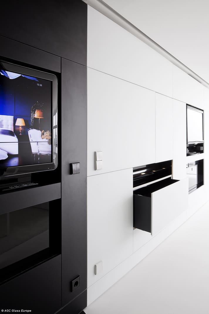 Habillage de meuble en verre laqué mat blanc – Matelac White Pure