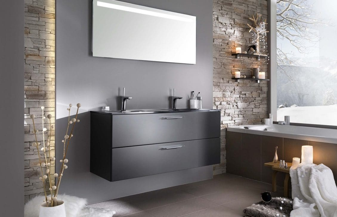Habillage de meuble en verre laqué mat gris - Matelac Silver Grey