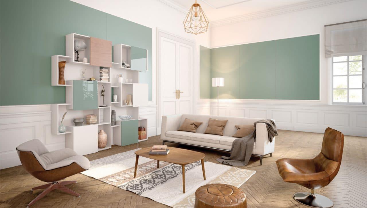 Revêtement mural et habillage de meuble en verre laqué mat vert - Matelac Green Sage